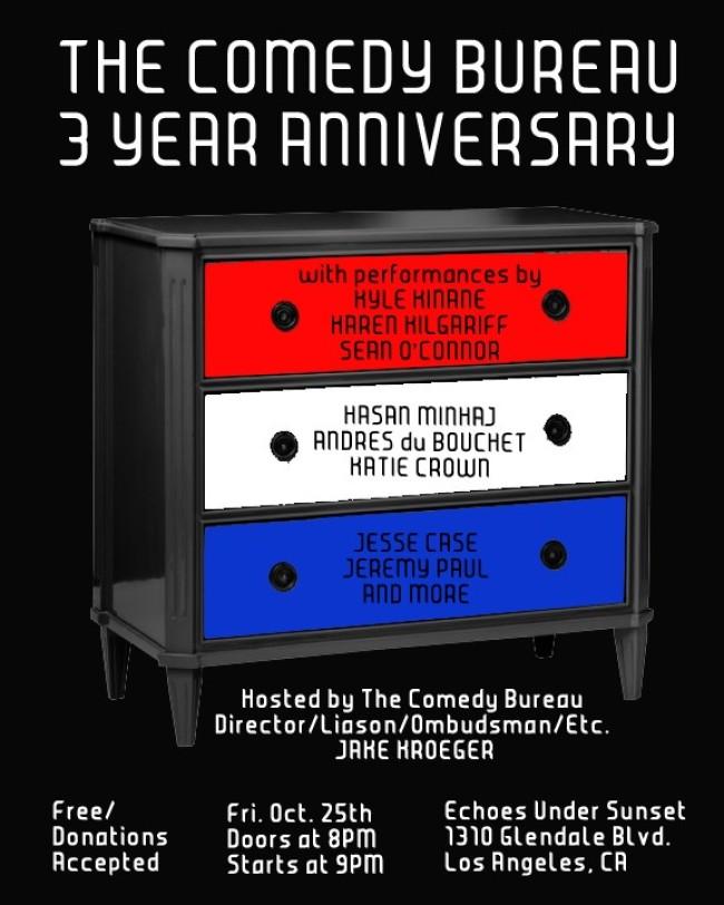 Quick Dish: The Comedy Bureau Celebrates its 3-year Anniversary TONIGHT