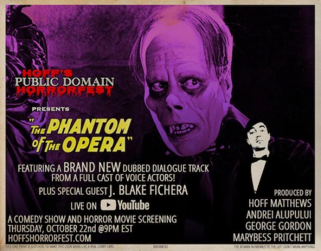 "Quick Dish Quarantine: HOFF'S PUBLIC DOMAIN HORRORFEST Comedy Show Presents ""The Phantom of the Opera"" 10.22 on YouTube"