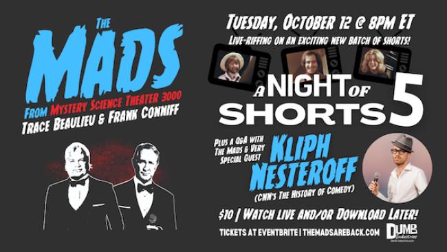 Quick Dish Quarantine: MST3K'S 'The Mads Night of Shorts 5' Live Online Riffing TONIGHT
